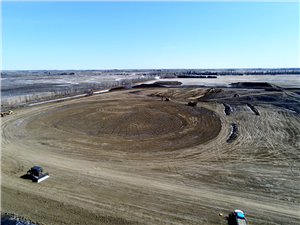 Aerial of cells ready for topsoil March 30